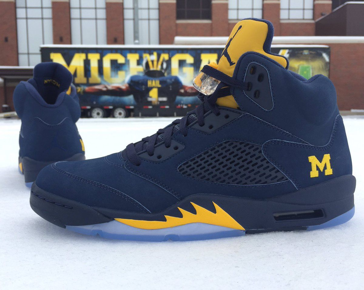 Get a good look at the Air Jordan 5 Michigan PE that Michael Jordan gave to  the Jordan Brand-sponsored school.