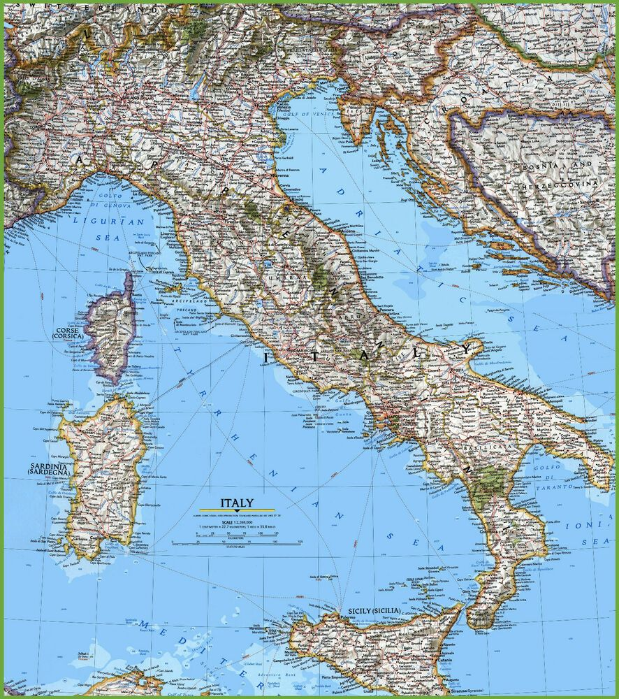 Italy Detailed Map Of Italy Digital Image Free Shipping Via
