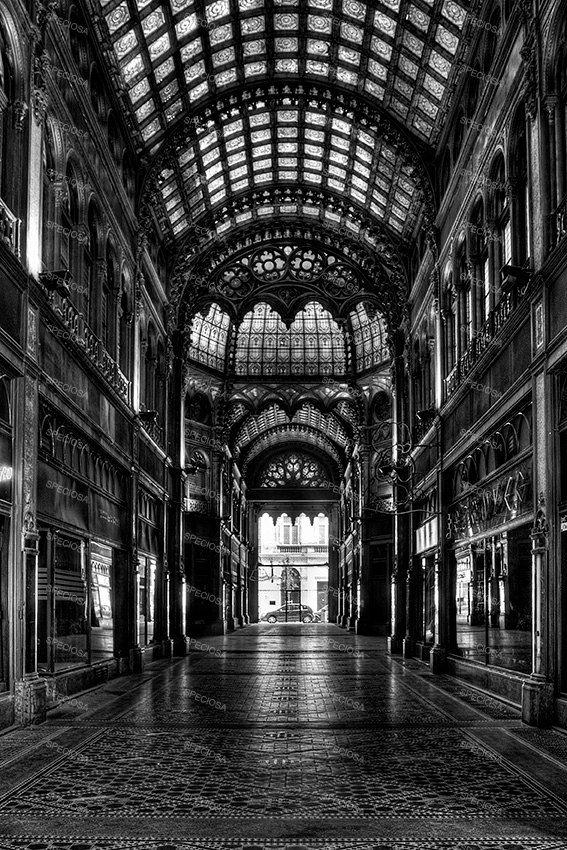 Black and white photograph budapest hungary parisian arcade urbex art