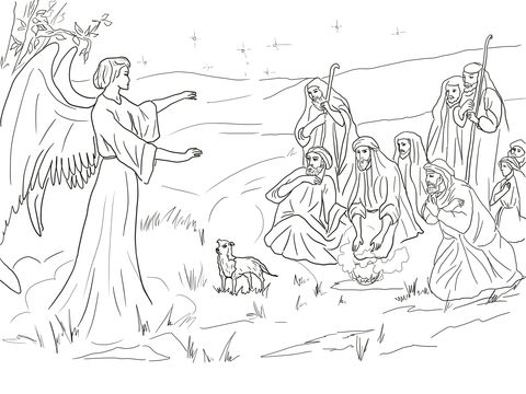 Angel Gabriel Announcing The Birth Of Christ To Shepherds Coloring Page Free Printable Colo Angel Coloring Pages Nativity Coloring Pages Jesus Coloring Pages