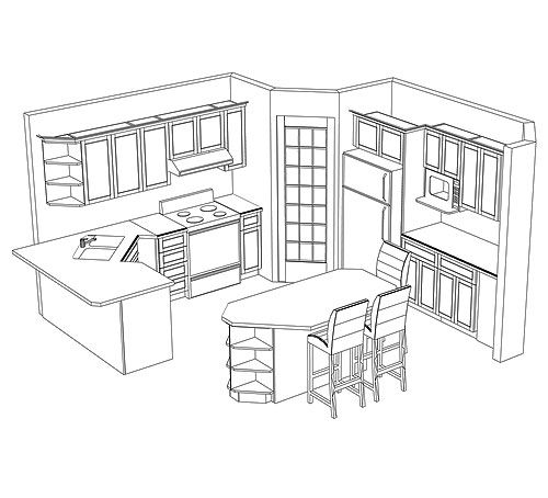 Potential kitchen layout with a corner pantry kitchen for Kitchen floor plans with island and walk in pantry