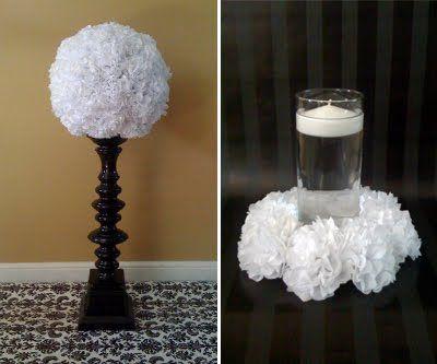 DIY tissue paper poms centerpieces (alternatives to flowers