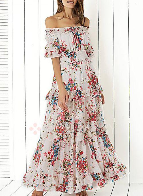Vestidos 7254 Vestidos Chifón Floral Hasta Los