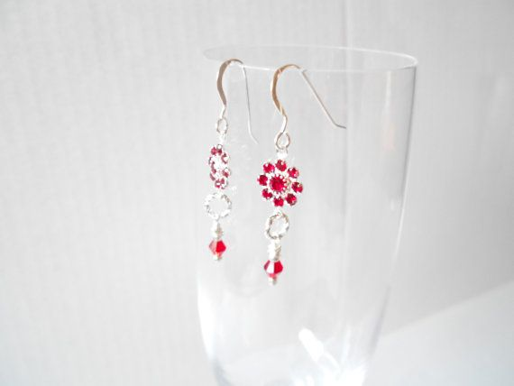 Red Flower Earrings, Bridesmaid Earring, Red Wedding Dangle, Red Floral Jewelry, #handmadejewelry #Christmasgift