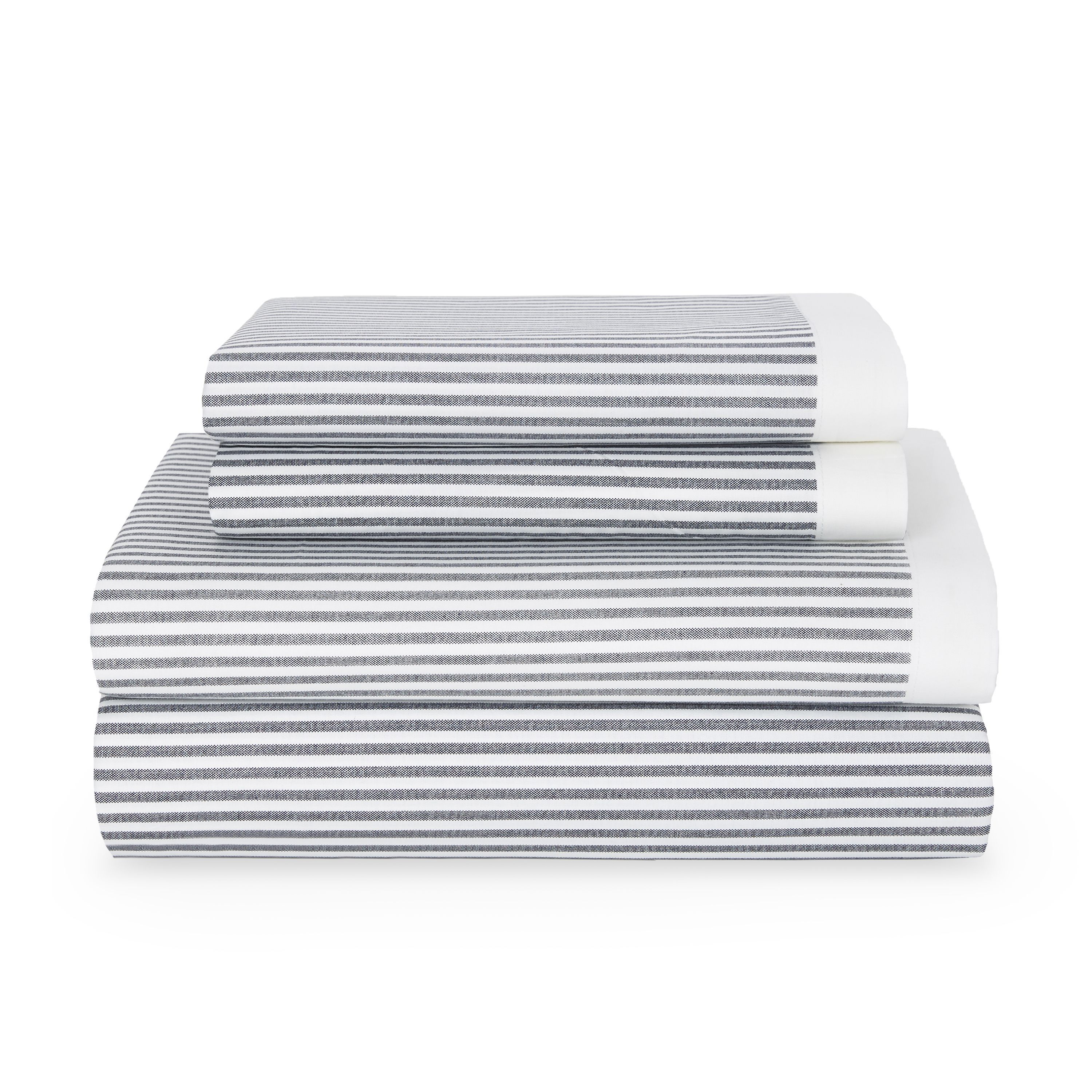 Wrap yourself up in these grey and white striped sheets by Tommy
