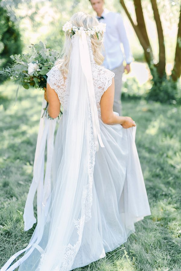 Boho Destination Wedding Inspiration - Bride in Long Veil with Lace and Tulle…