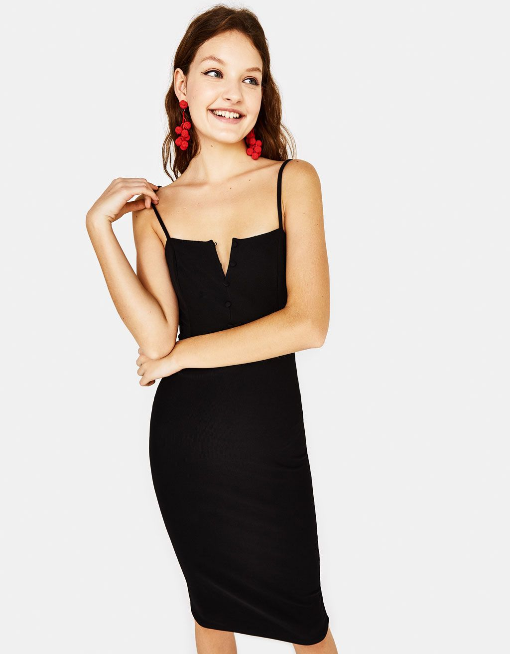 e0a70ddd078975 Fitted ribbed midi dress. Discover this and many more items in Bershka with  new products every week