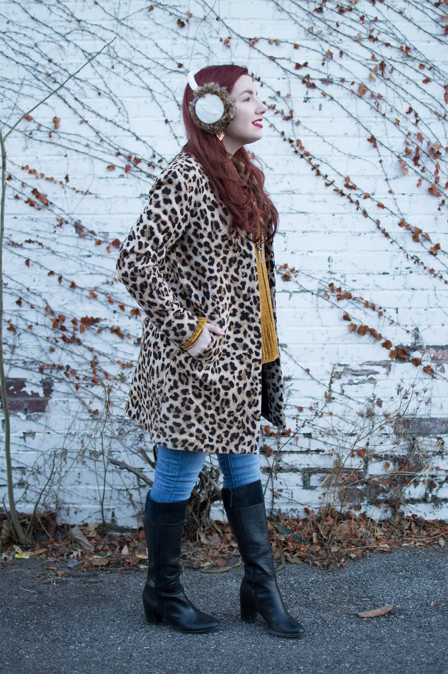Winter Outfit Idea: Staying warm when it is REALLY cold with layers, leopard, and fuzzy earmuffs!