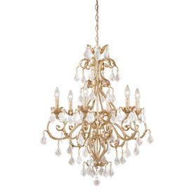 Cascadia Lighting Newcastle 6-Light Gilded-White Gold Crystal Accent Chandelier