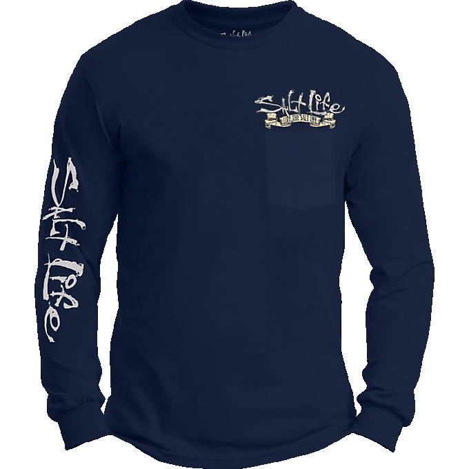 Lunch break long sleeve pocket tee all men 39 s salt life for Salt life long sleeve fishing shirts