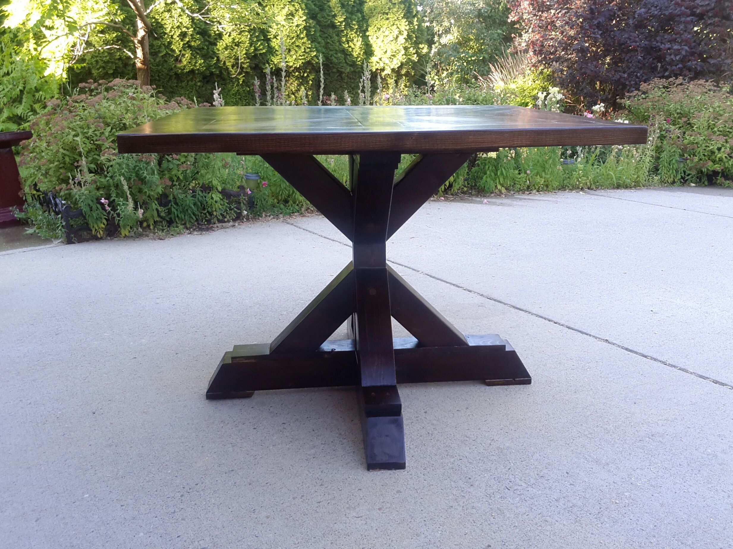 4x4 X Base Pedestal Dining Table With Planked Wood Top Pedestal