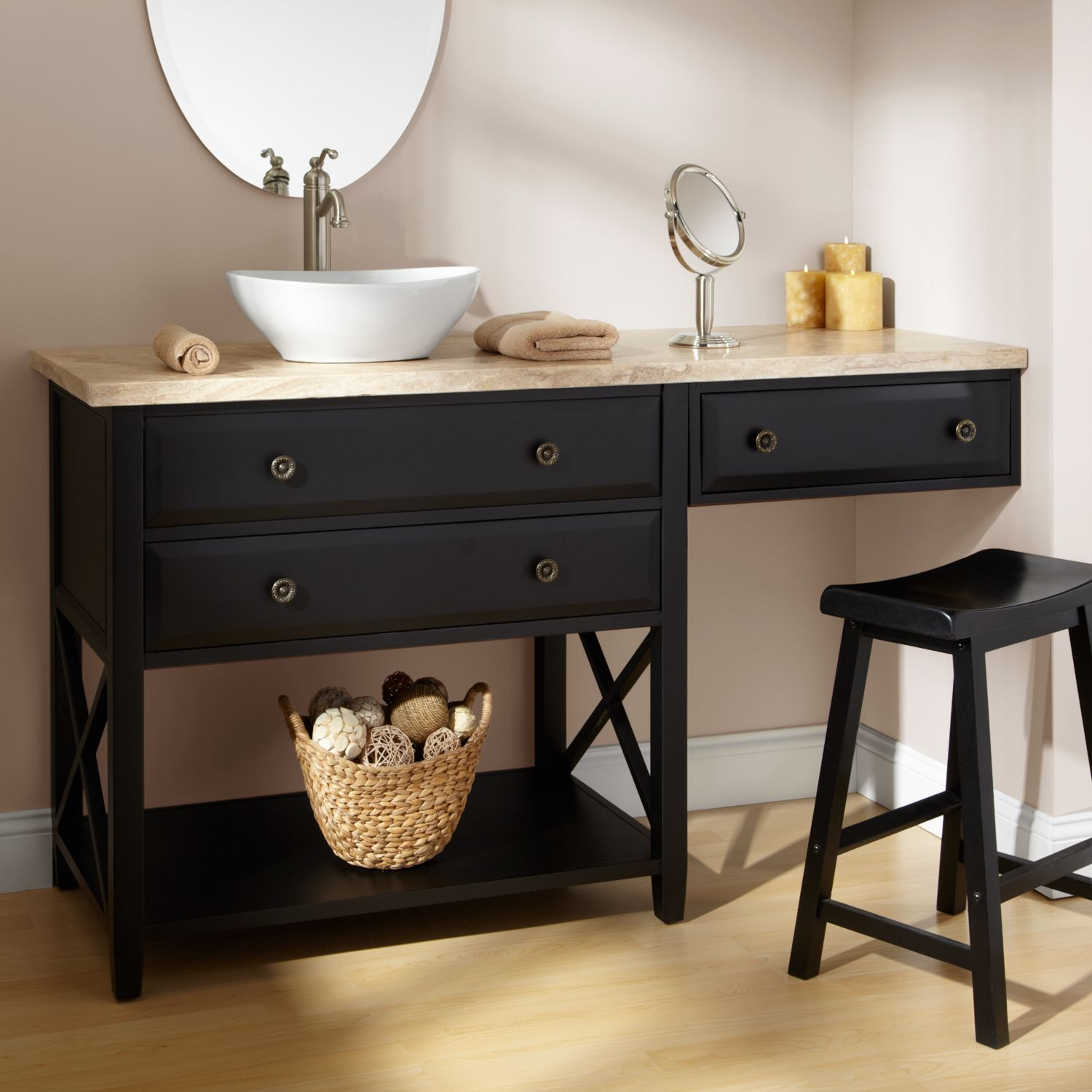 60 clinton black vanity for vessel sink with makeup area for Vessel sink vanity ideas