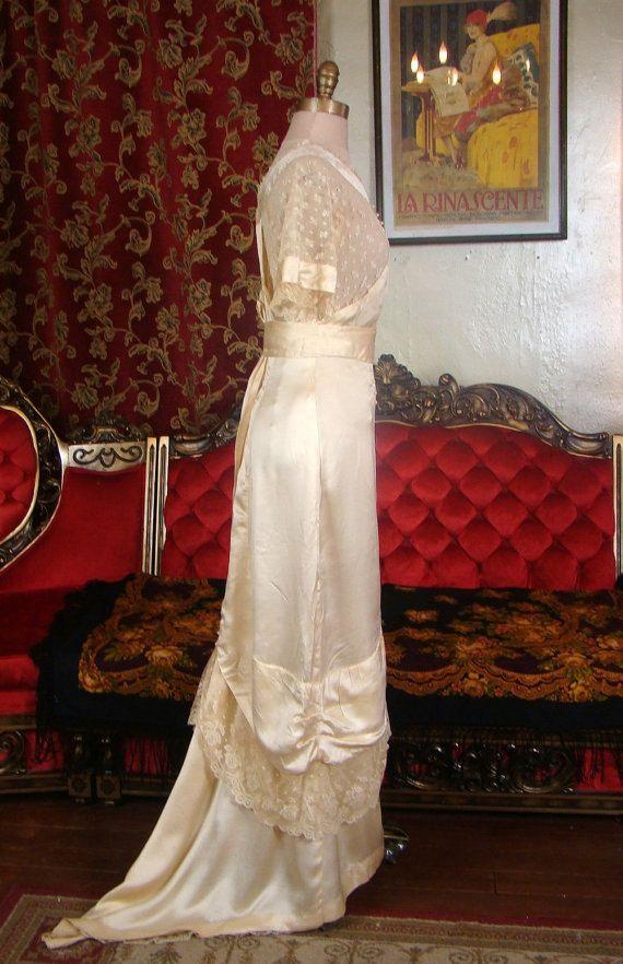 Vintage Wedding Dress Titanic Edwardian 1900s Bridal Gown Silk