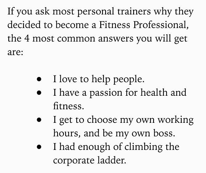 A page from a book I'm reading.  People often ask why I became a trainer. This pretty much nails it. #personaltrainerlife