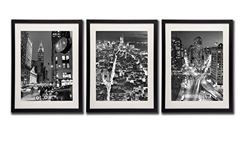 New york city nyc skyline wall art decor posters 18x24 black frame night cityscape picture artwork