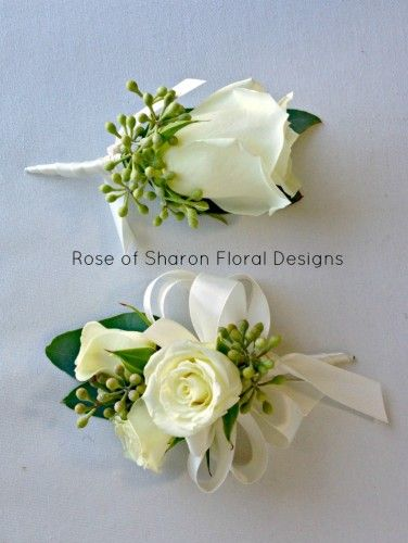 056 Boutonniere Corsage Spray Rose And Seeded Eucalyptus