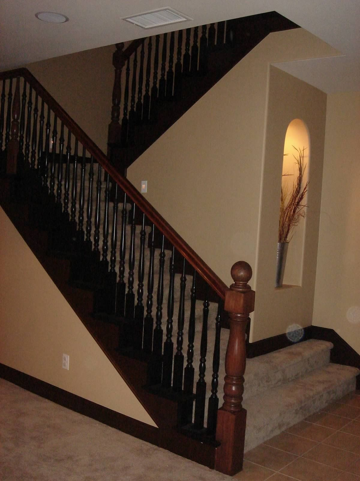 Best Staircase W Paint Stain Instead Of Wrought Iron 640 x 480