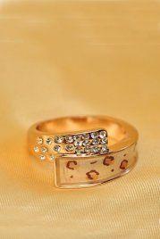 Rhinestone Ring With Leopard Print