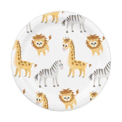 Zebra Lion and Giraffe Cute Baby Animals Paper Plate - kids birthday gift idea anniversary jubilee  sc 1 st  Pinterest & Zebra Lion and Giraffe Cute Baby Animals Paper Plate - kids birthday ...