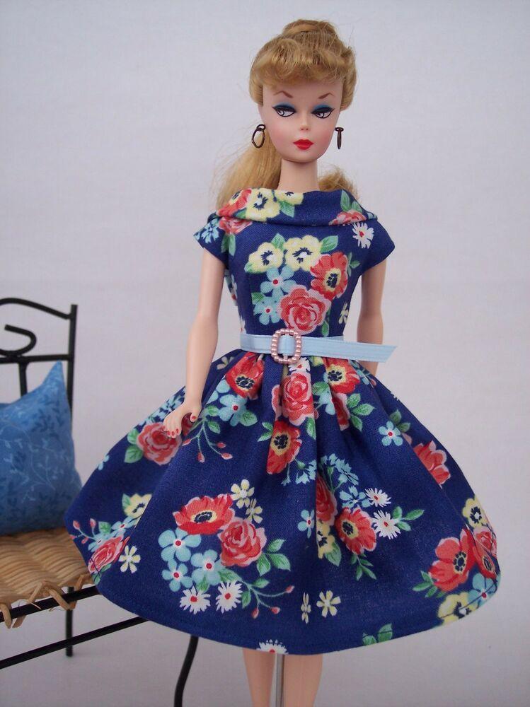 Handmade Vintage Barbie Doll Clothes By Brenda Blue Floral Dress Doll Clothes Vintage Barbie Dolls Barbie