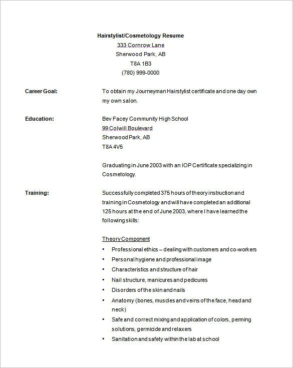 Hair Stylist Resume Template - 9+ Free Samples, Examples, Format