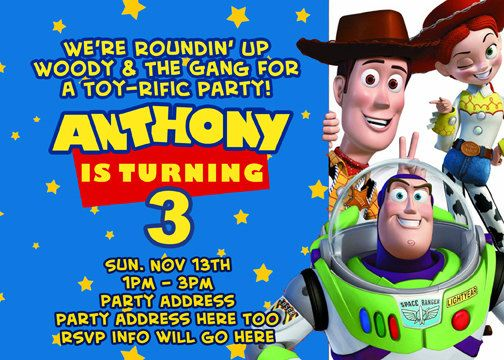 Toy Story Invitation Digital File 4X6 or 5X7 by digitalparties