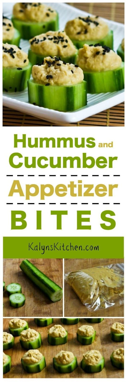 Every holiday or football-watching party needs at least one healthy appetizer, and these Hummus and Cucumber Appetizer Bites with Sesame Seeds are tasty and easy to make! [found on KalynsKitchen.com] #HealthyAppetizers #CucumberHummusAppetizer #Hummus