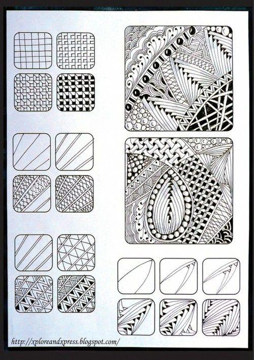 Zentangle tiles. Various patterns