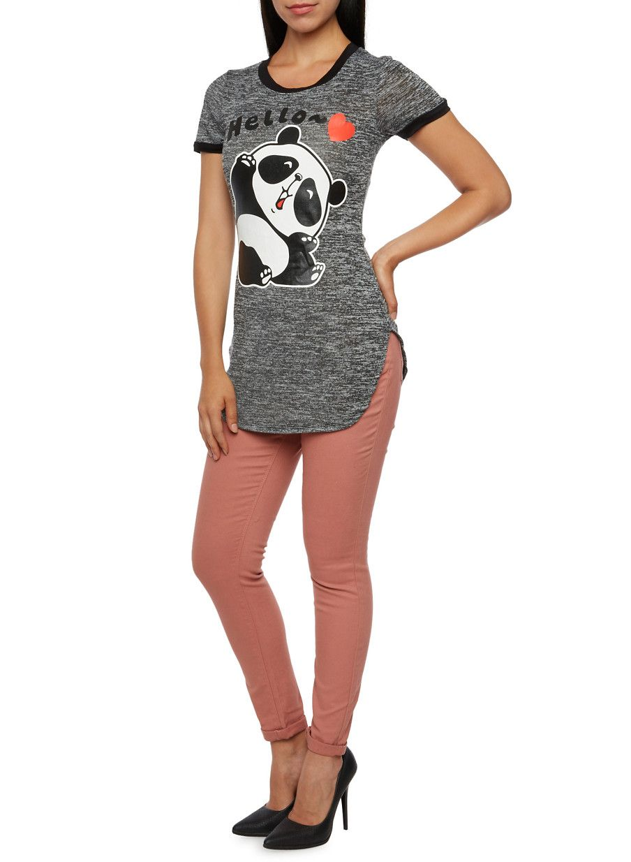 Tunic Top with Panda Graphic,BLACK