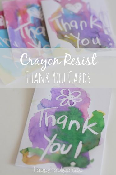 Handmade Thank You Cards Wax Resist Ideas For Kids Crafts