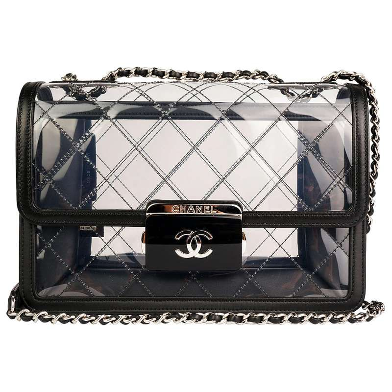 3cd28dfd9d1b Chanel Classic Flap Naked Beauty Lock Clear Transparent PVC Crossbody Bag  For Sale