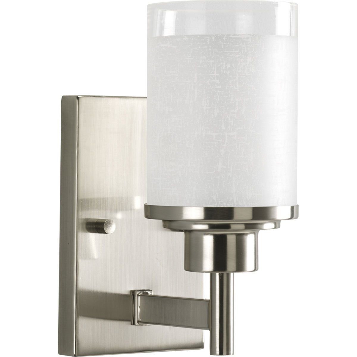 Progress Lighting P2959 09 1 Light Wall Bracket With White Linen Finished Glass And Clear Edge Acc Bathroom Wall Sconces Wall Sconce Lighting Progress Lighting