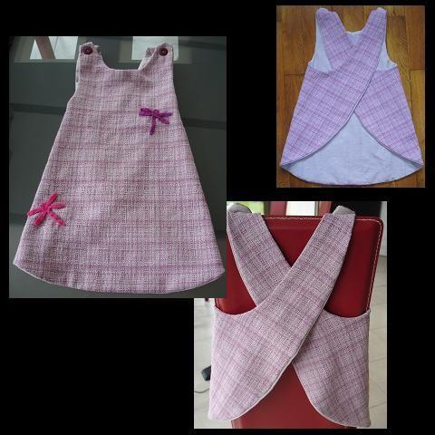 Voici une petite robe inspirée du Tablier Elsie de Citronille.  Para adaptar a la muñeca