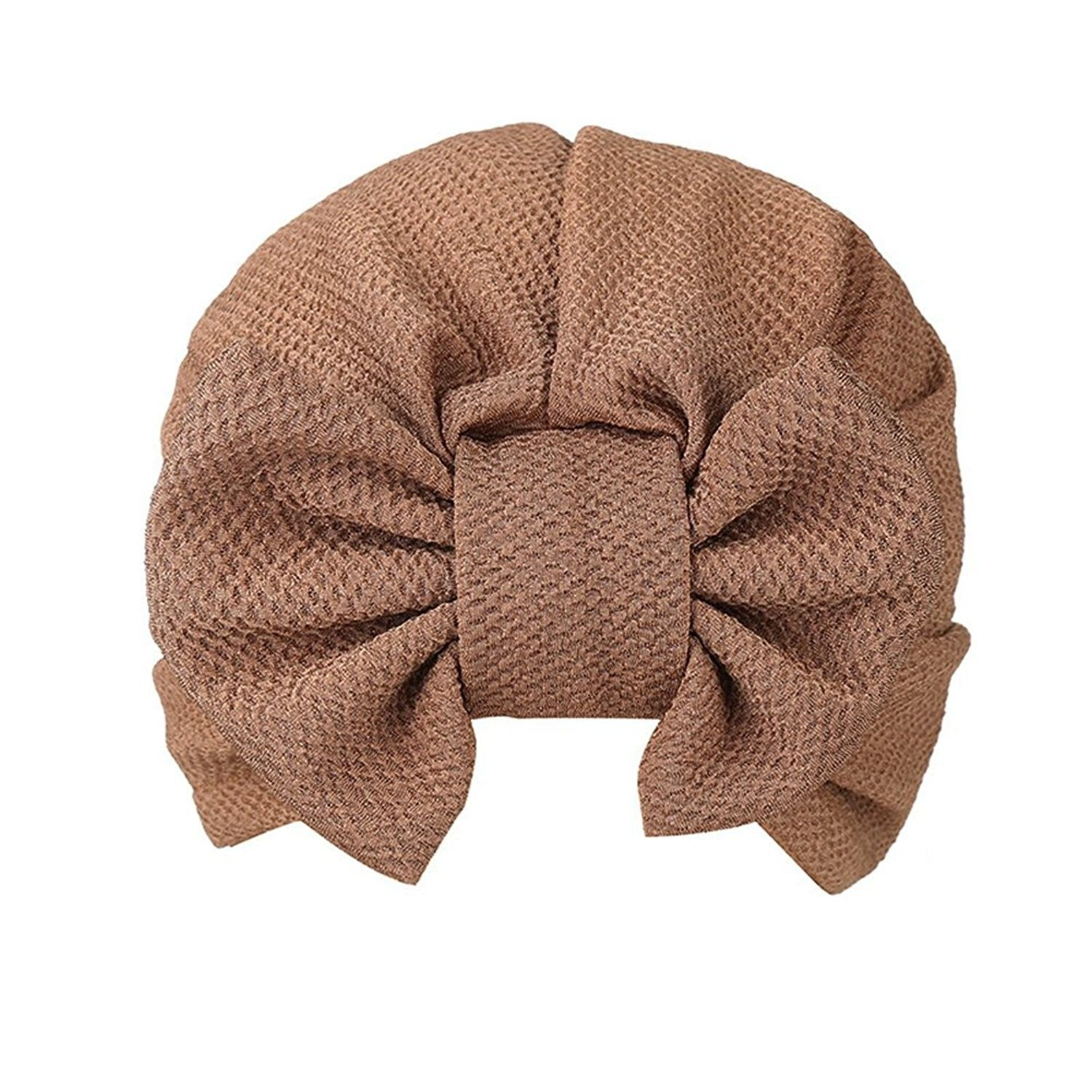 1b01d8147d5 Women s Bow Solid Pattern Stretch Turban Hat Hair Wrap Sun Cap ...