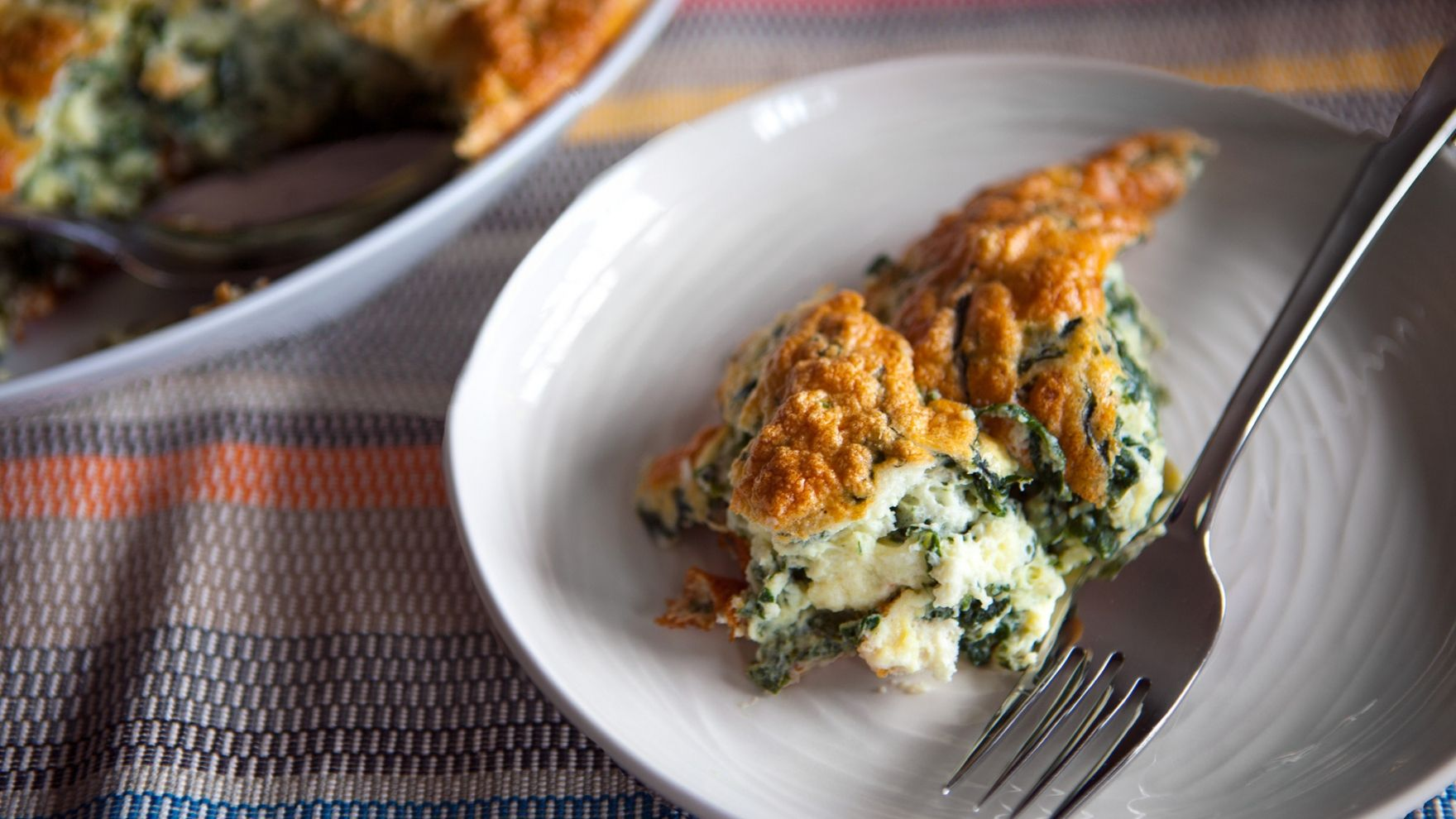 Spinach goat cheese souffle recipe by Deborah Madison
