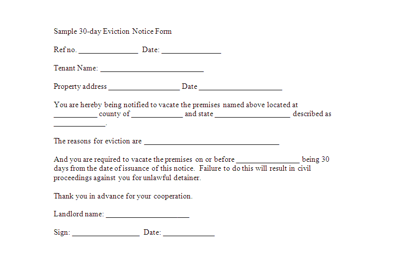 Free Downloadable Eviction Forms | Sample 30 Day Eviction Notice Form  Template | Sample Eviction