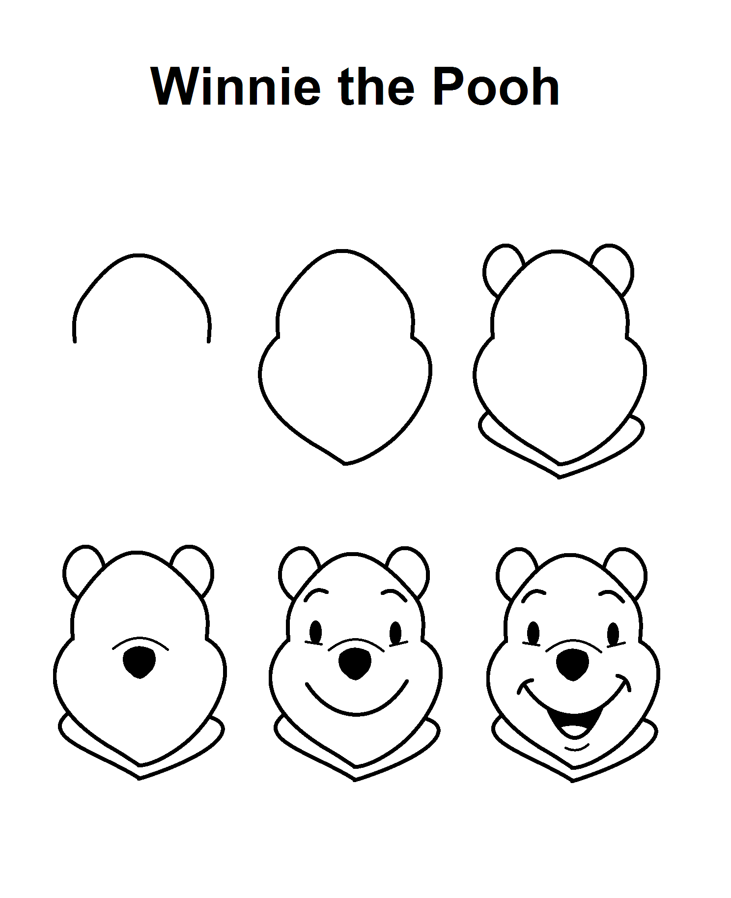 How To Draw Winnie The Pooh Characters Step By Step Winnie the Pooh stepbystep drawing tutorial Drawing