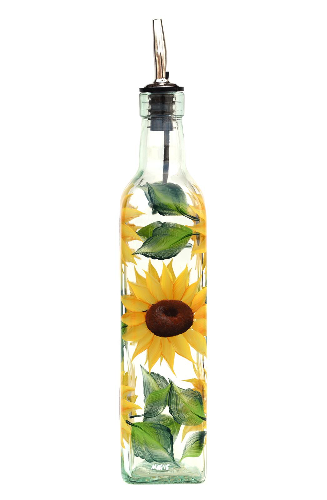 Sunflowers Olive Oil Bottle | Painted wine bottles | Pinterest ...