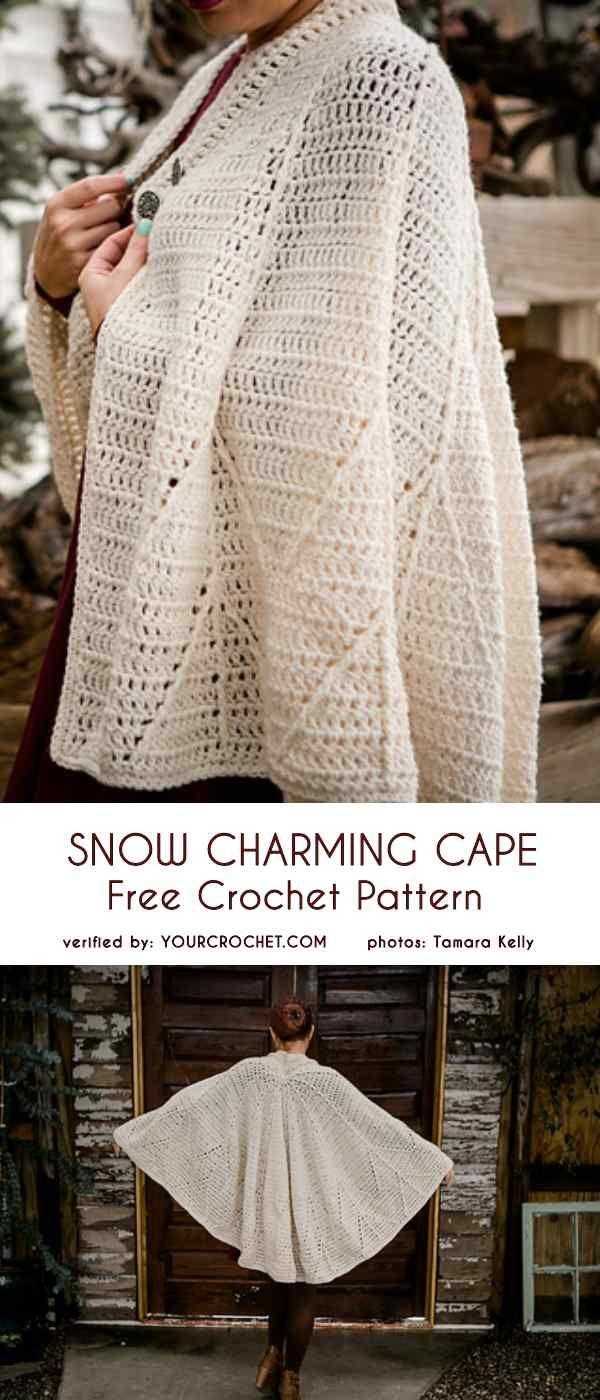 Snow Charming Cape Free Crochet Pattern   CROCHET   Pinterest ...