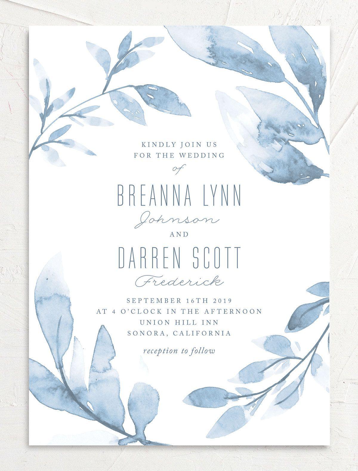 Painted Leaves Wedding Invitations Elli Watercolor Wedding Invitations Wedding Card Design Wedding Cards