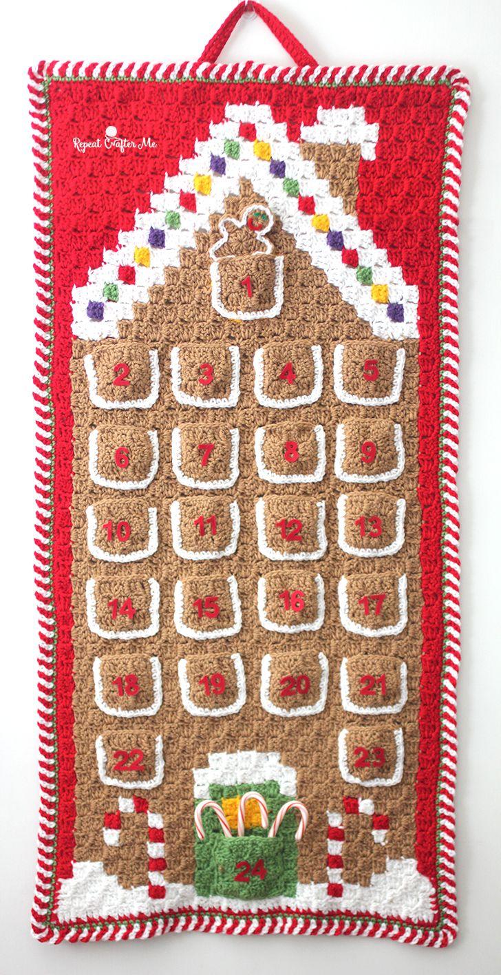 Crochet C2C Gingerbread House Advent Calendar   Crochet ...