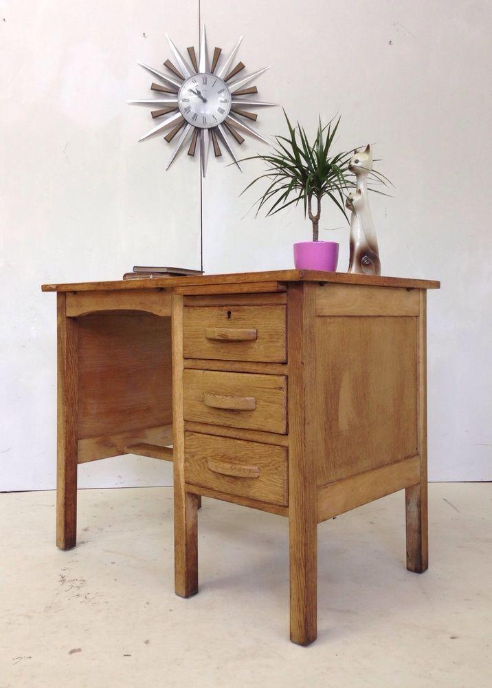 1940s 50s Small Oak Wooden Pedestal School Desk Drawers Vintage