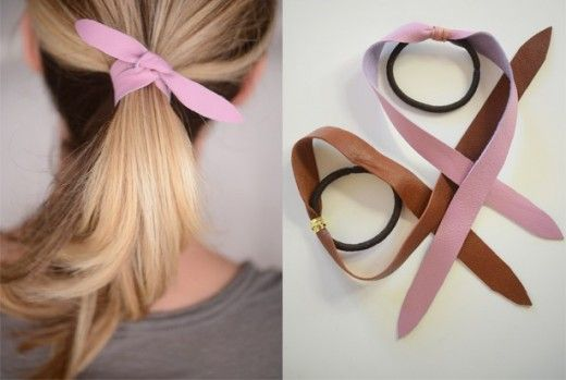 DIY Leather Hair Tie, by Cupcakes & Cashmere // Great idea.