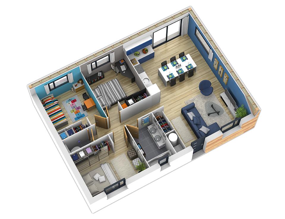 Plan Maison 80m2 3 Chambres 3d Plan Maison Plan Maison Ossature Bois Maison Natilia