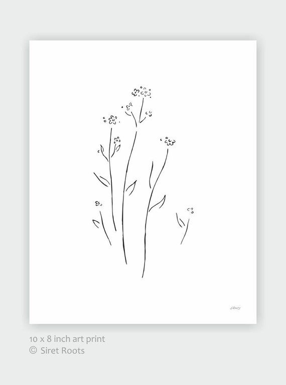 10 X 8 Forget Me Not Art Print Minimalist Flower Sketch Black And White Drawing Flower Sketches Black And White Drawing Flower Drawing