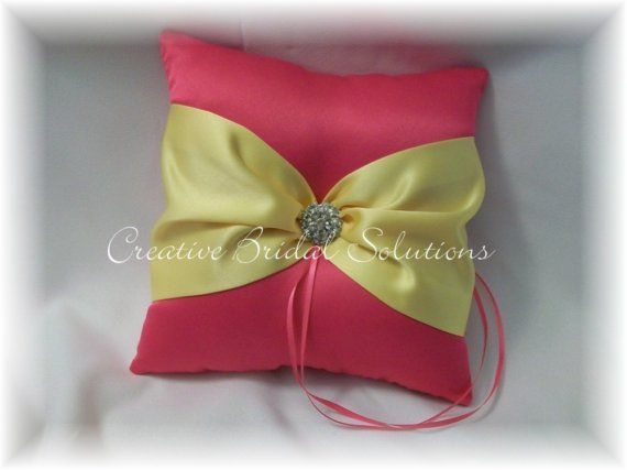 Shocking Pink and Yellow Wedding Ring Bearer by CreativeBridal, $35.00