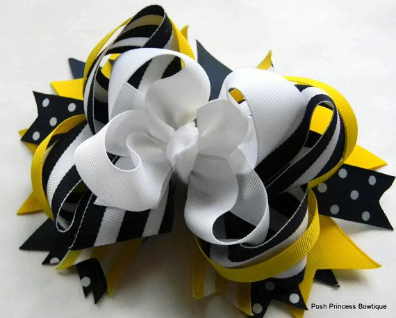 Azul marino, amarillo, blanco apilados arco del pelo, arcos del pelo del boutique, chicas, bebé, arco del pelo de los niños