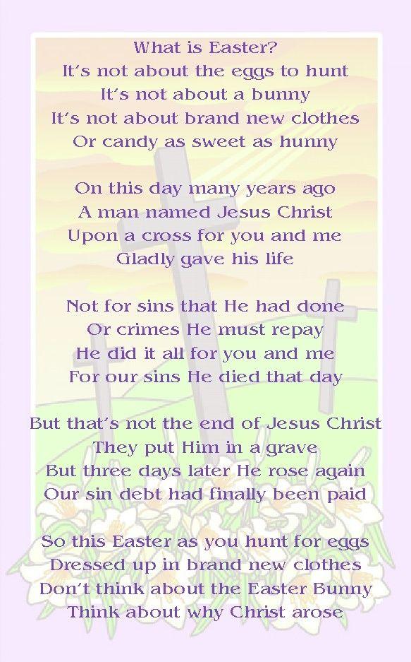 Easter Poems For Kids Children Church Sunday School