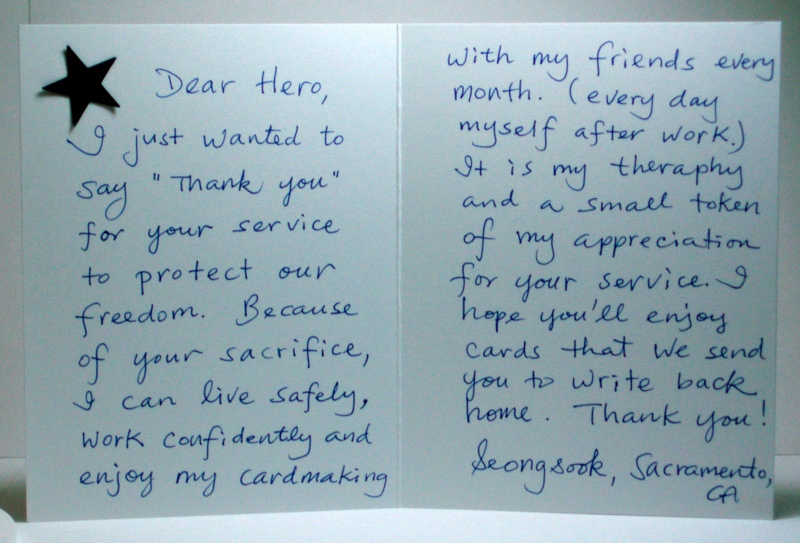 Sample letter of thanks to our servicemen.  Letters to veterans