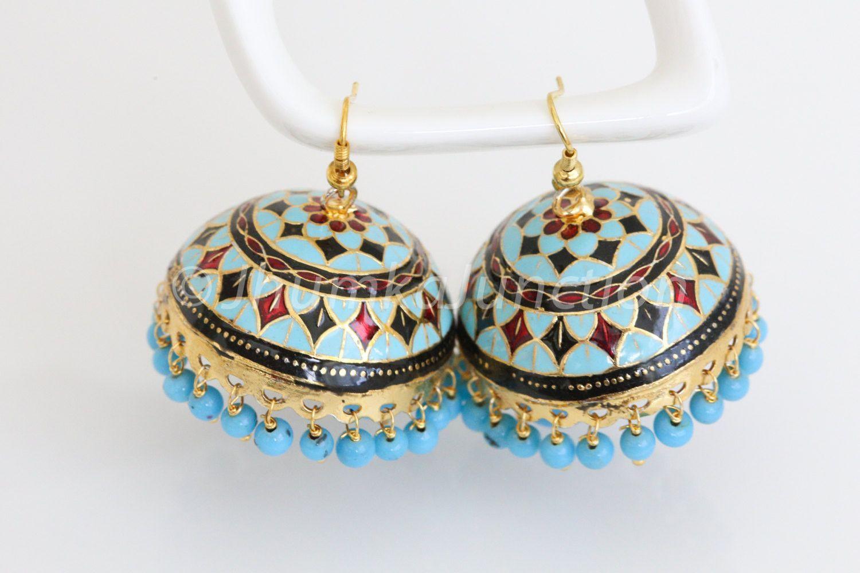 Turquoise Large Enamel Jhumka Earring